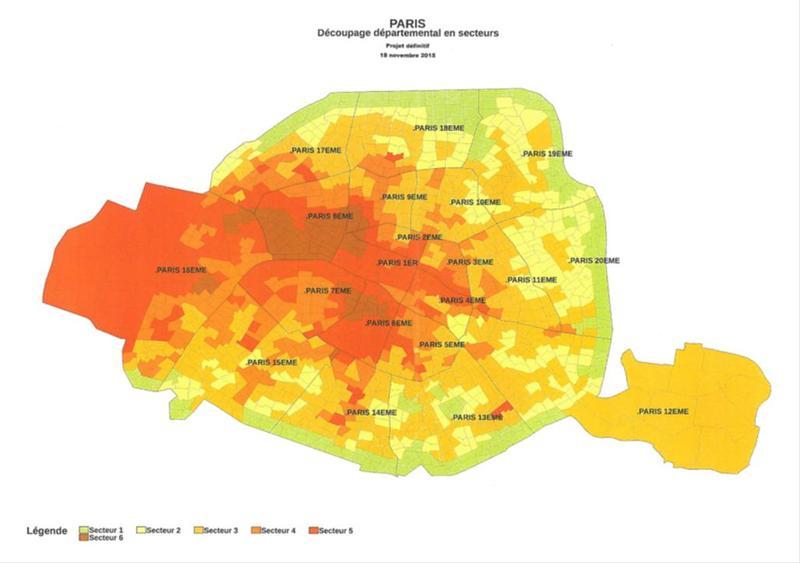 Carte du découpage départemental de Paris en secteur