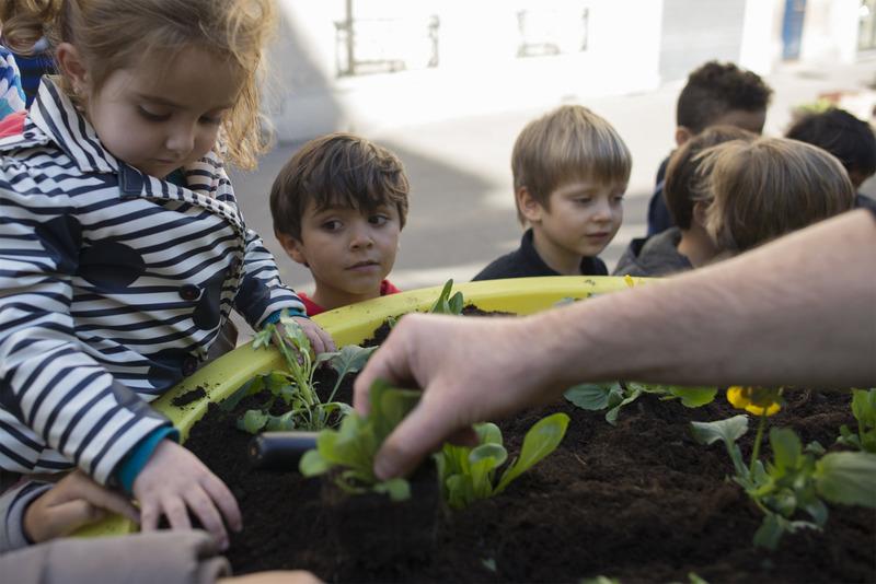 Plantation dans des jardinières sur le trottoir par les enfants des écoles avec les jardiniers de la Ville.