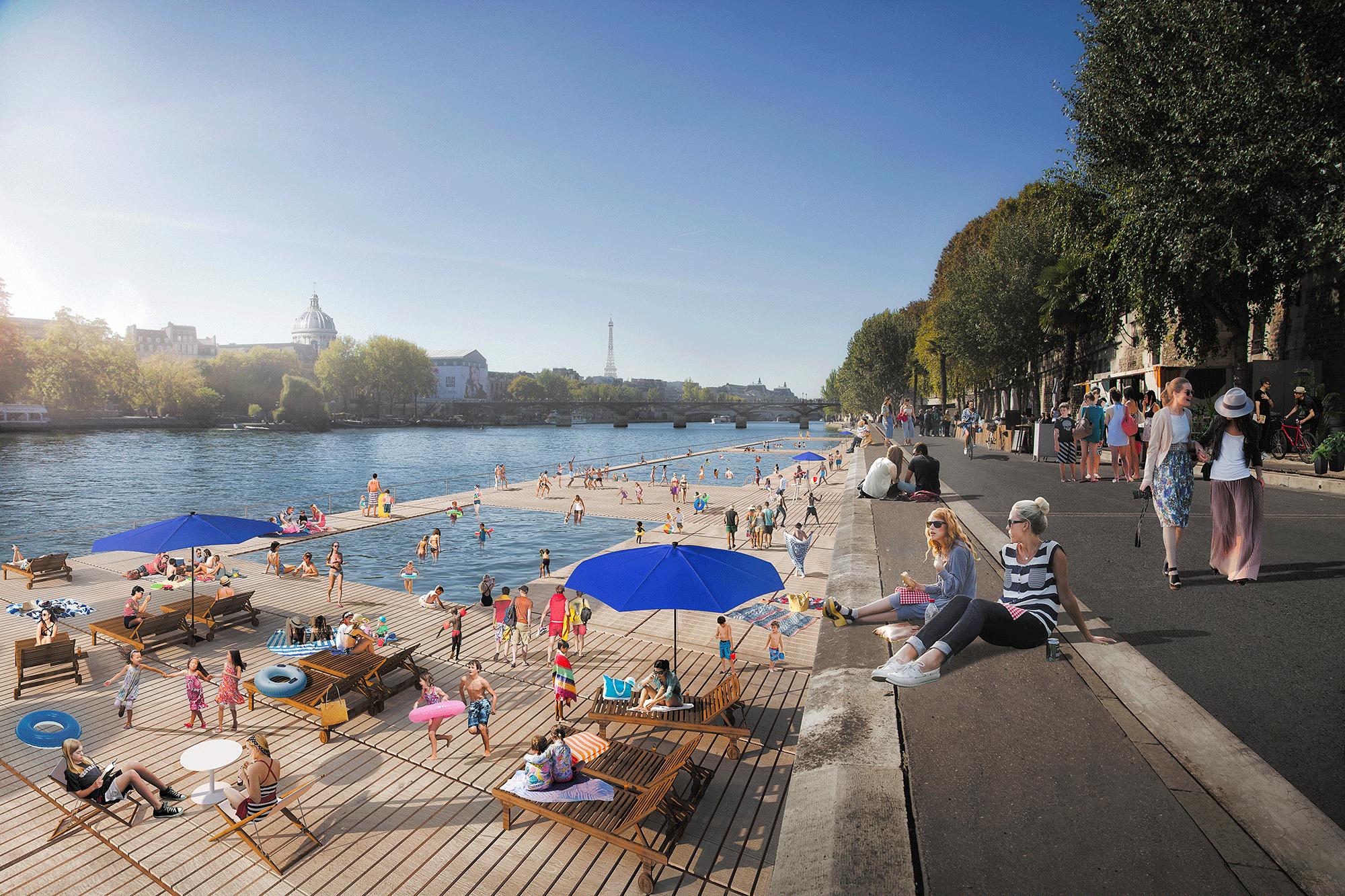 Baignade en Seine : près du Pont neuf