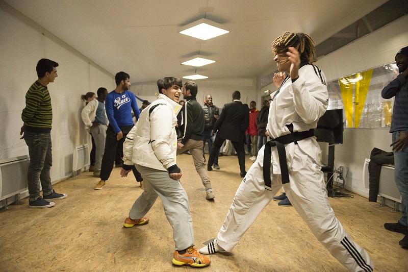Initiation Taekwondo centre réfugiés