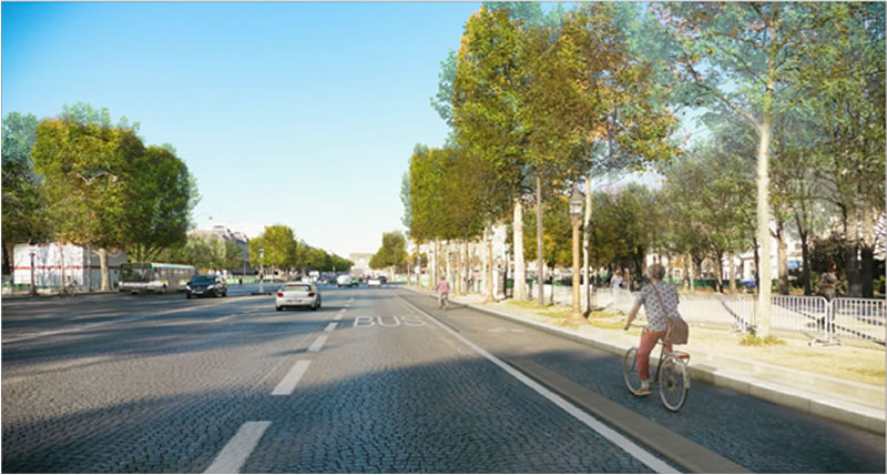 Décembre 2019 : sur 2 km, une piste cyclable de chaque côté, sur tous les Champs-Elysées