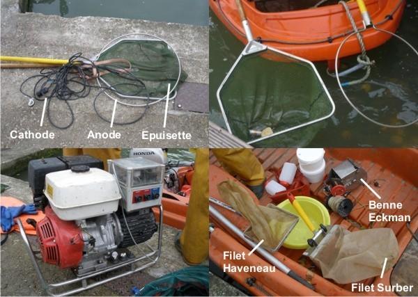 Instruments utilisés pour la pêche électrique et les prélèvements effectués dans le bassin de la Villette