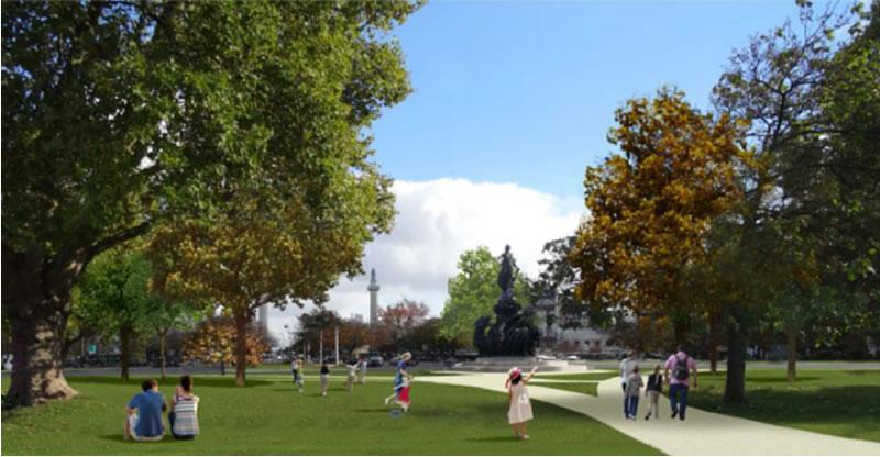 A l'été 2019, le terre-plein central de la place de la Nation sera un véritable parc urbain