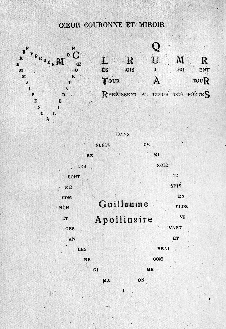 """""""Coeur couronné et miroir"""", poème extrait des """"Calligrammes"""" (1918) de Guillaume Apollinaire."""