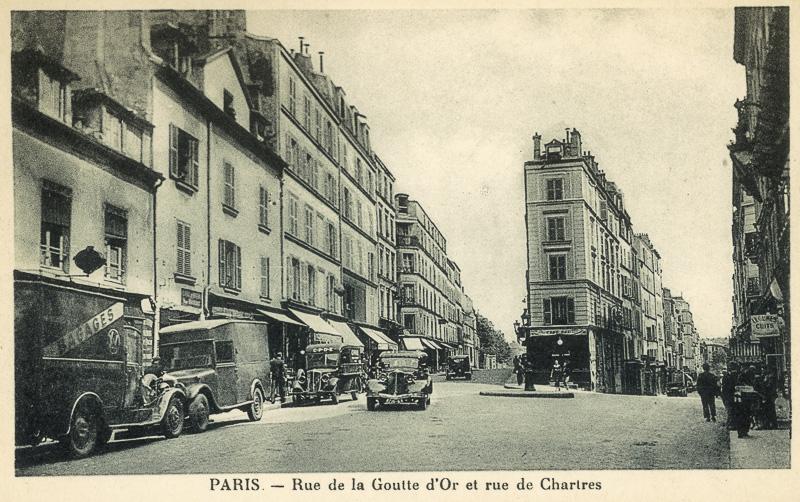 Rue de la Goutte d'Or et rue de Chartres. Paris (XVIIIème arr.). Carte postale, vers 1900.