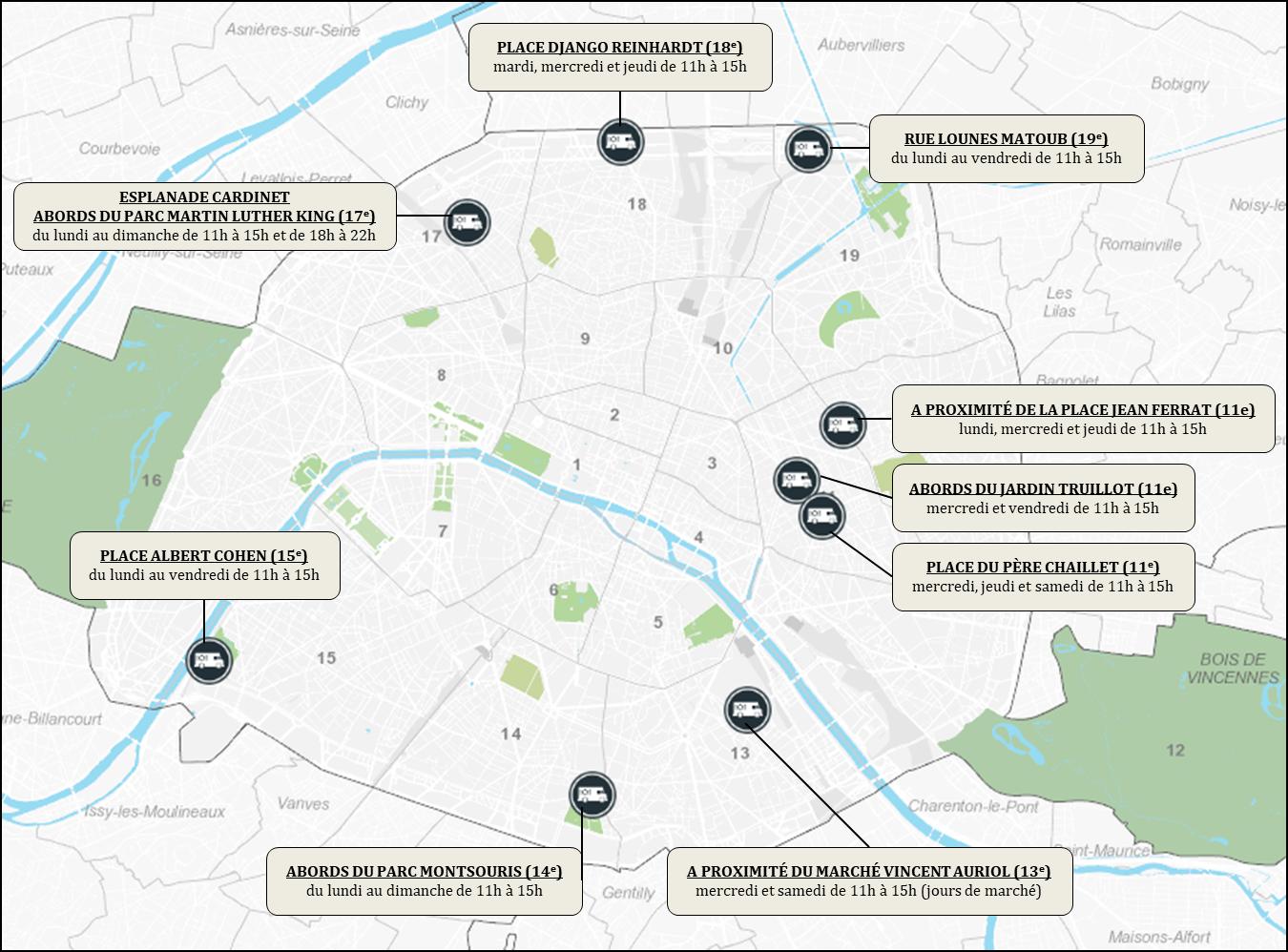 Carte des camions-restaurations autorisés par la Ville 2020-2022
