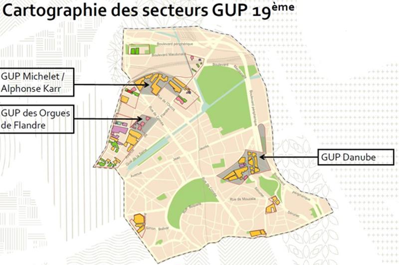 Cartographie des secteurs GUP 19ème