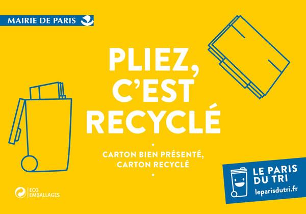 Bac jaune cartons - pliez, c'est recyclé Le Paris du tri