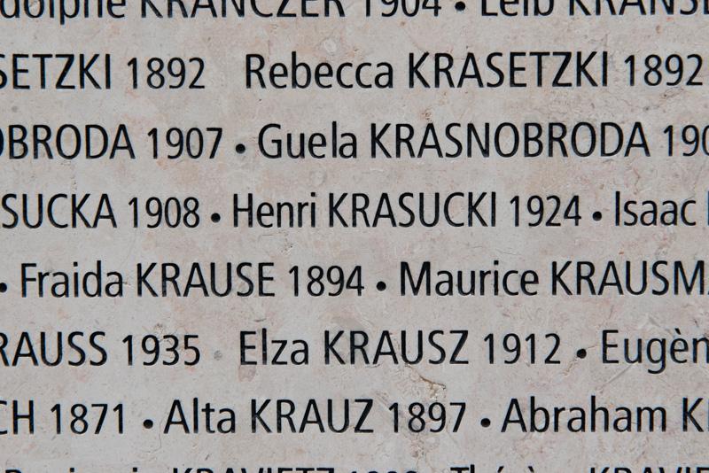 Détail du Mur des noms avec le nom d'Henri Krasucki