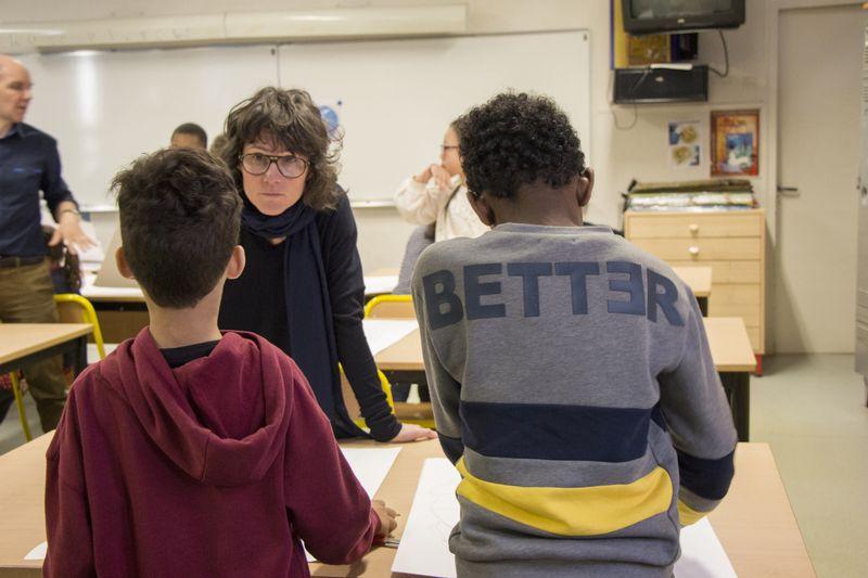 Charlotte Beaudry à l'école Saint-Maur (11e) dans le cadre du FMAC à l'école