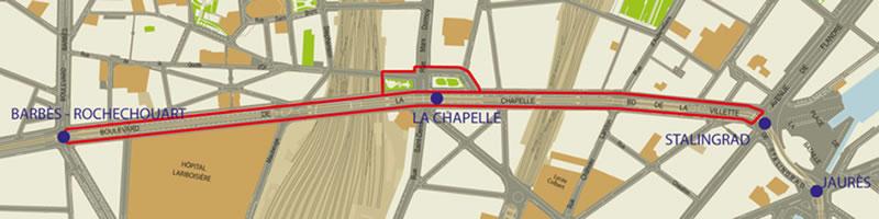 sur 2,3 km du boulevard de la Chapelle, entre les stations Barbès et Stalingrad, une promenade urbaine.