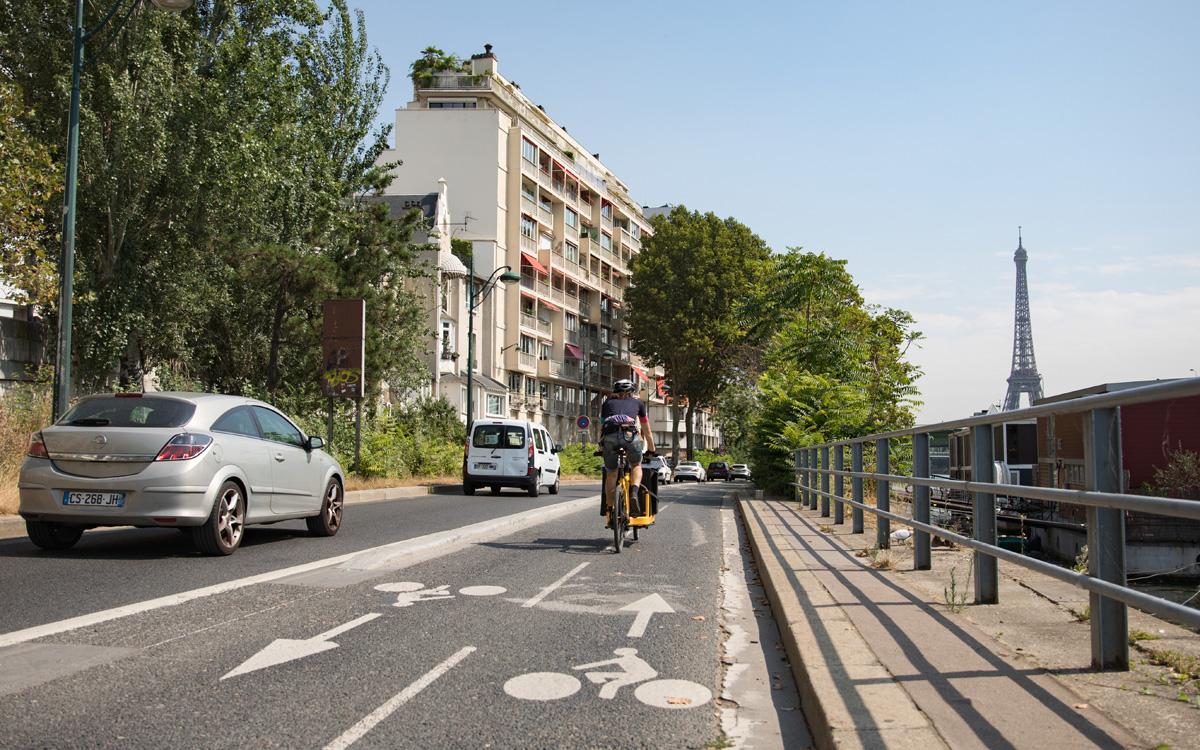 Piste cyclable voie Georges Pompidou