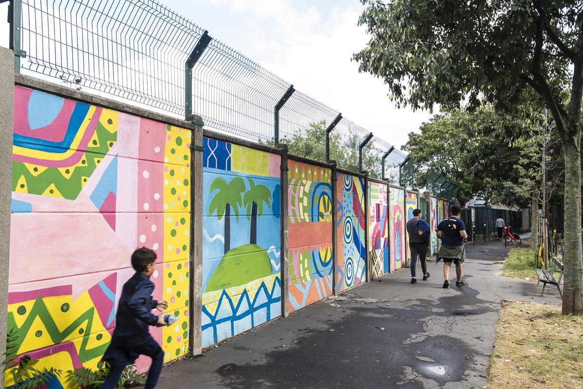 Fresque réalisée par les femmes hébergées par l'association HAFB femmes battues