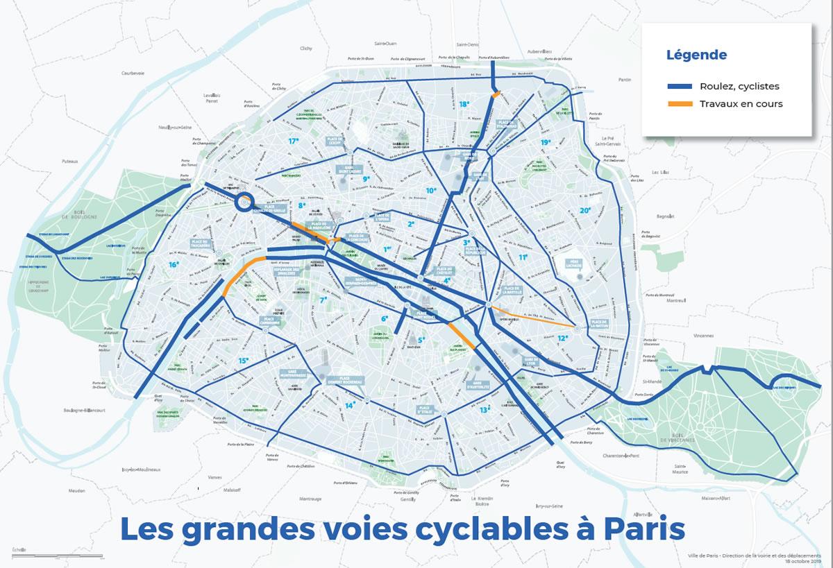 Carte des itinéraires cyclables au 17 octobre 2019