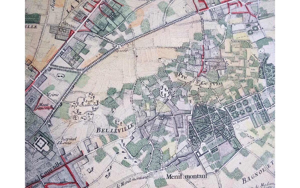 Plan du quartier de la place des fêtes vers 1782