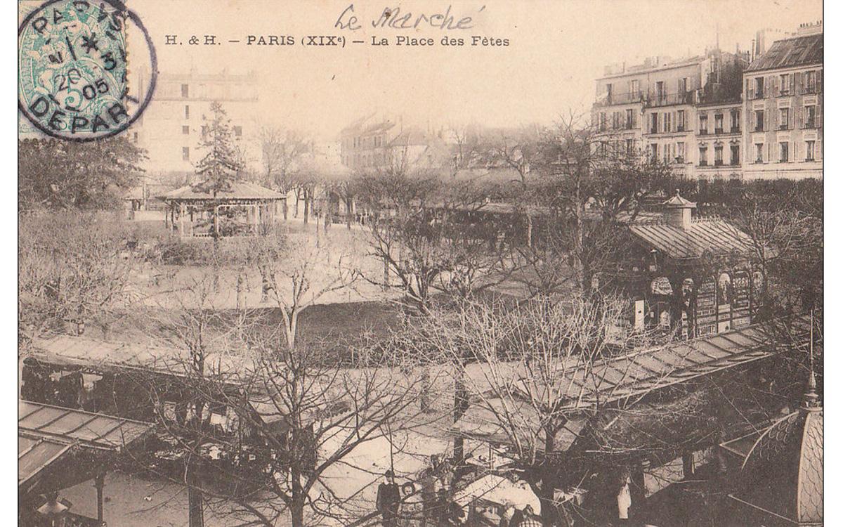 Autour du square de la place des Fêtes, dont le marché au début du XXe siècle s'abritait sous des auvents pérènnes, la hauteur des constructions demeure très inégale vers 1905