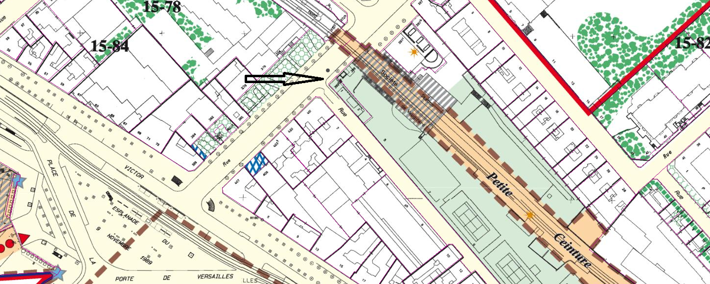 Plan Ville de Paris : 399 bis rue de Vaugirad 15ème