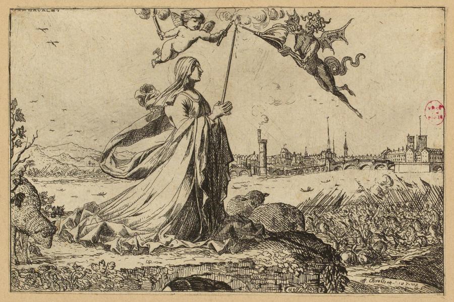 Estampe de Sainte Geneviève priant pour la ville de Paris