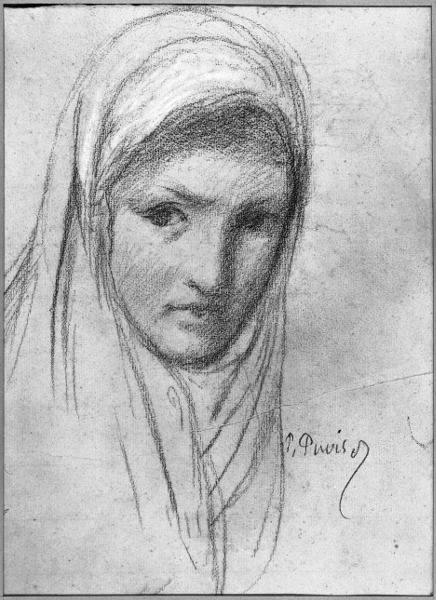Tête de Sainte Geneviève  Fusain Craie blanche Papier vergé