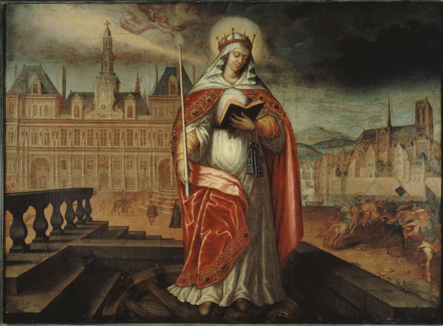 Sainte Geneviève, patronne de Paris, devant l'Hôtel de Ville; à droite, les Huns repoussés, vers 1620. Actuel 4ème arrondissement.  Anonyme , Peintre  Entre 1615 et 1625