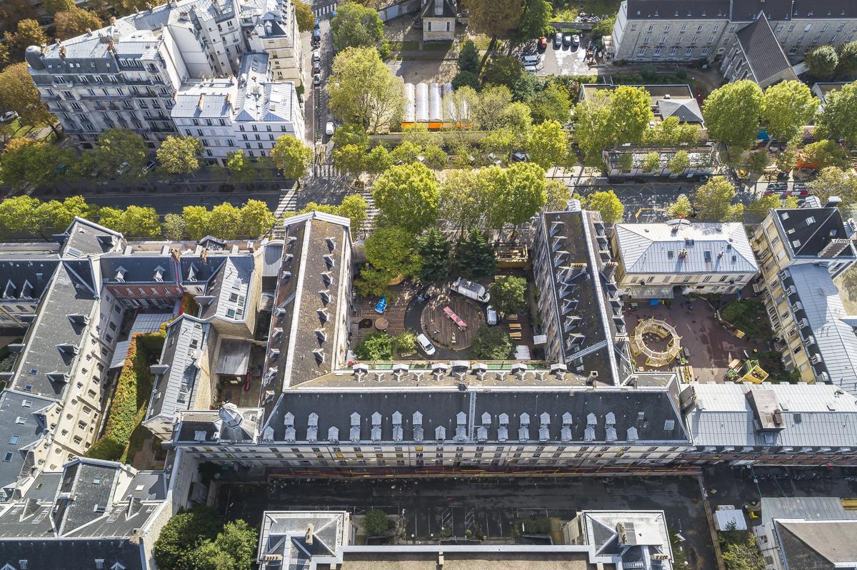 Bâtiments Robin et Oratoire de la Façade Denfert, qui donne sur l'avenue Denfert-Rochereau