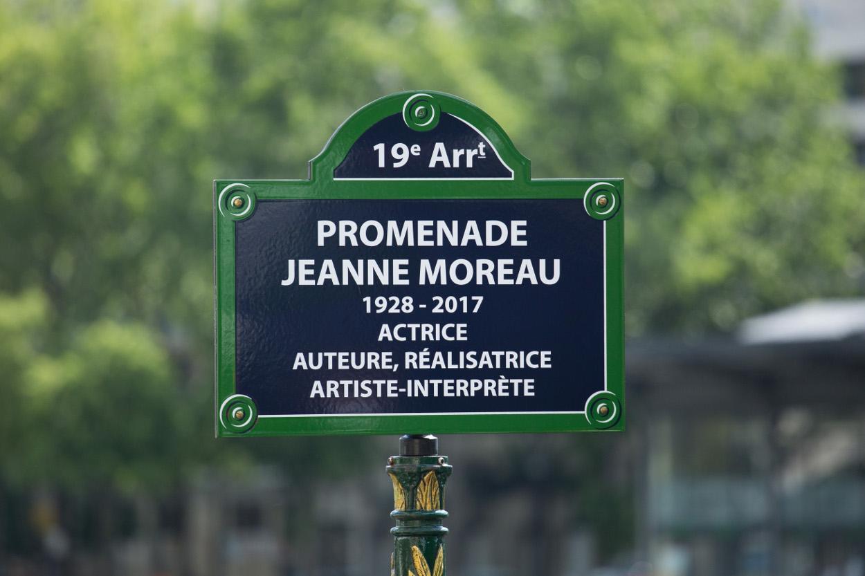Plaque de rue Promenade Jeanne Moreau dans le 19e