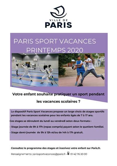 Affiche Paris Sport Vacances Printemps 2020