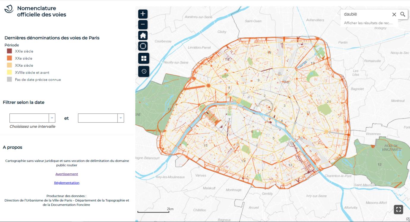 Cartographie des voies de Paris