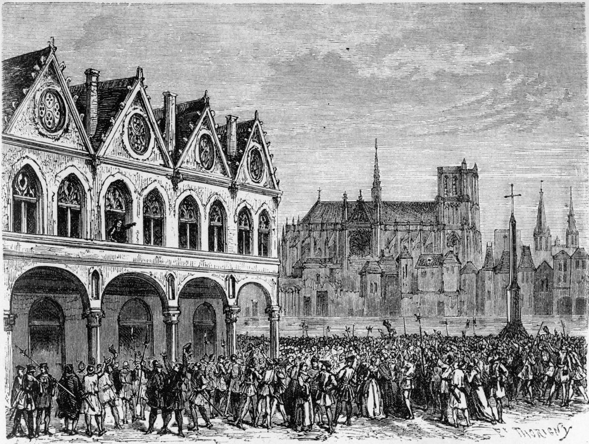 Etienne Marcel (1316-1358), marchand drapier et homme politique français, haranguant le peuple de Paris de la fenêtre de la Maison aux Piliers (emplacement de l'Hôtel de Ville).