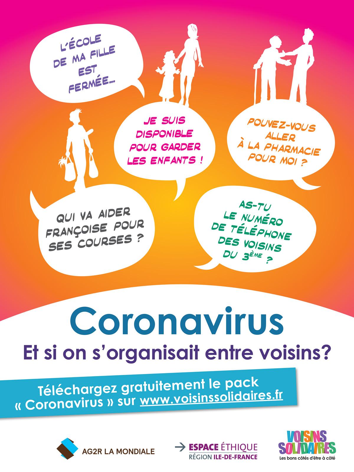 Affiche Coronavirus voisins solidaires