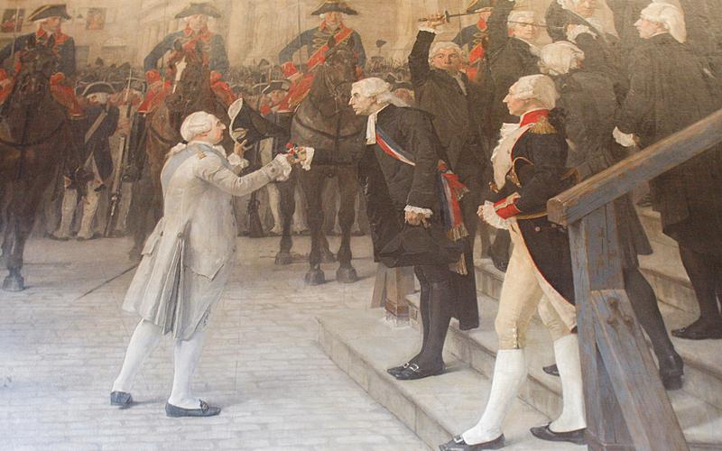Jean Sylvain Bailly, premier maire de Paris, remet la cocarde tricolore à Louis XIV, tableau de Jean Paul Laurens conservé à l'Hôtel de Ville de Paris