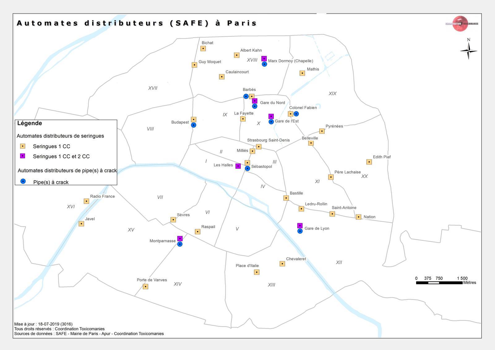 Carte des distributeurs automatique de séringues