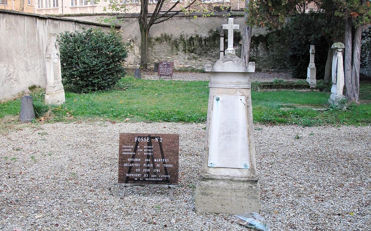 Les fosses communes aujourd'hui. Les espaces en gravier marquent l'emplacement des fosses.