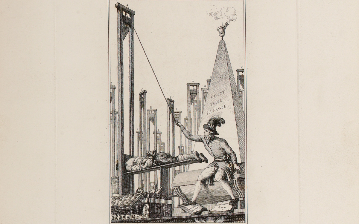 Rosbespierre guillotinant le boureau après avoir fait guillotiner tous les français.