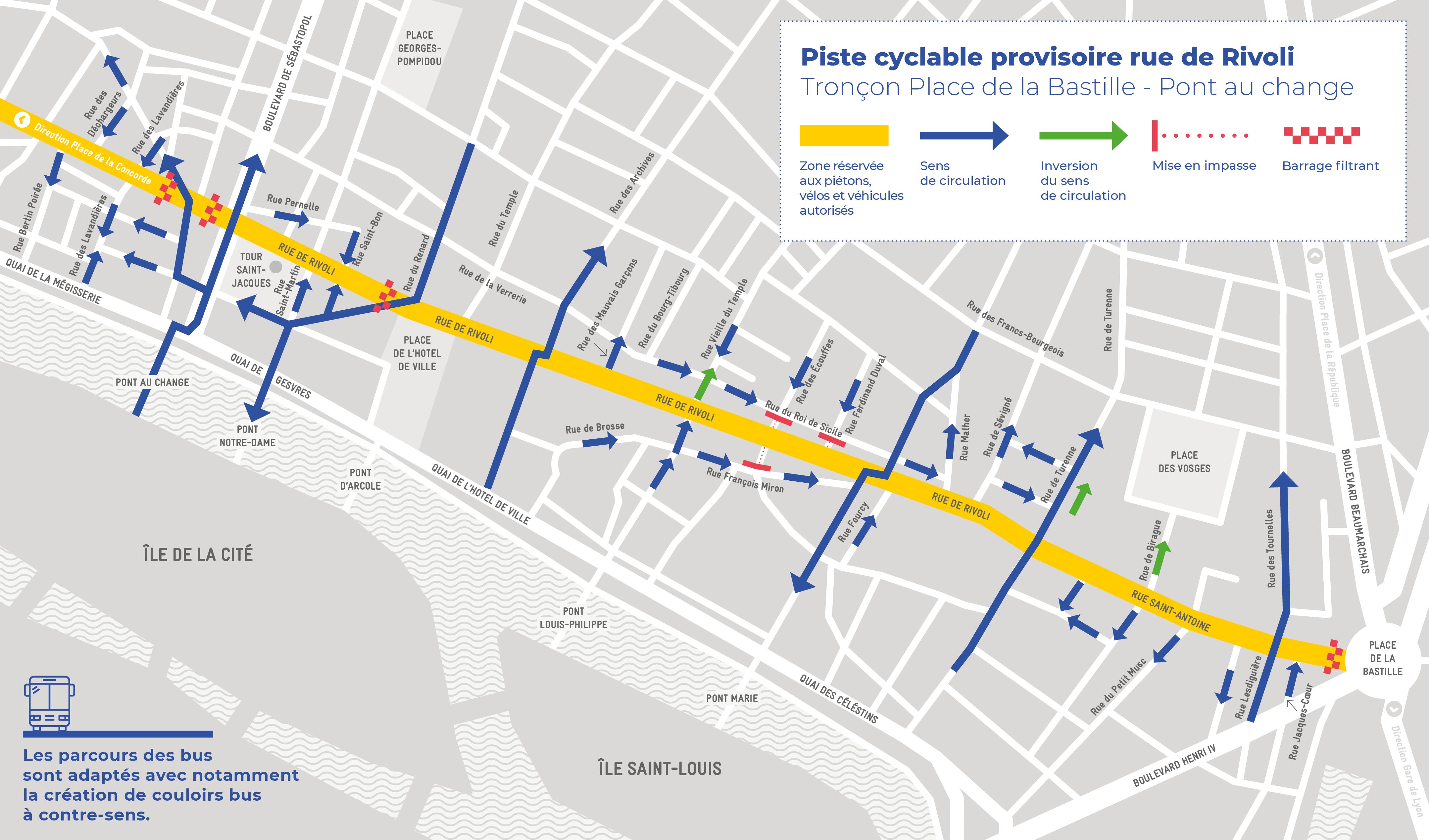 plan de la piste cyclable rue de Rivoli, tronçon Bastille - Pont au Change