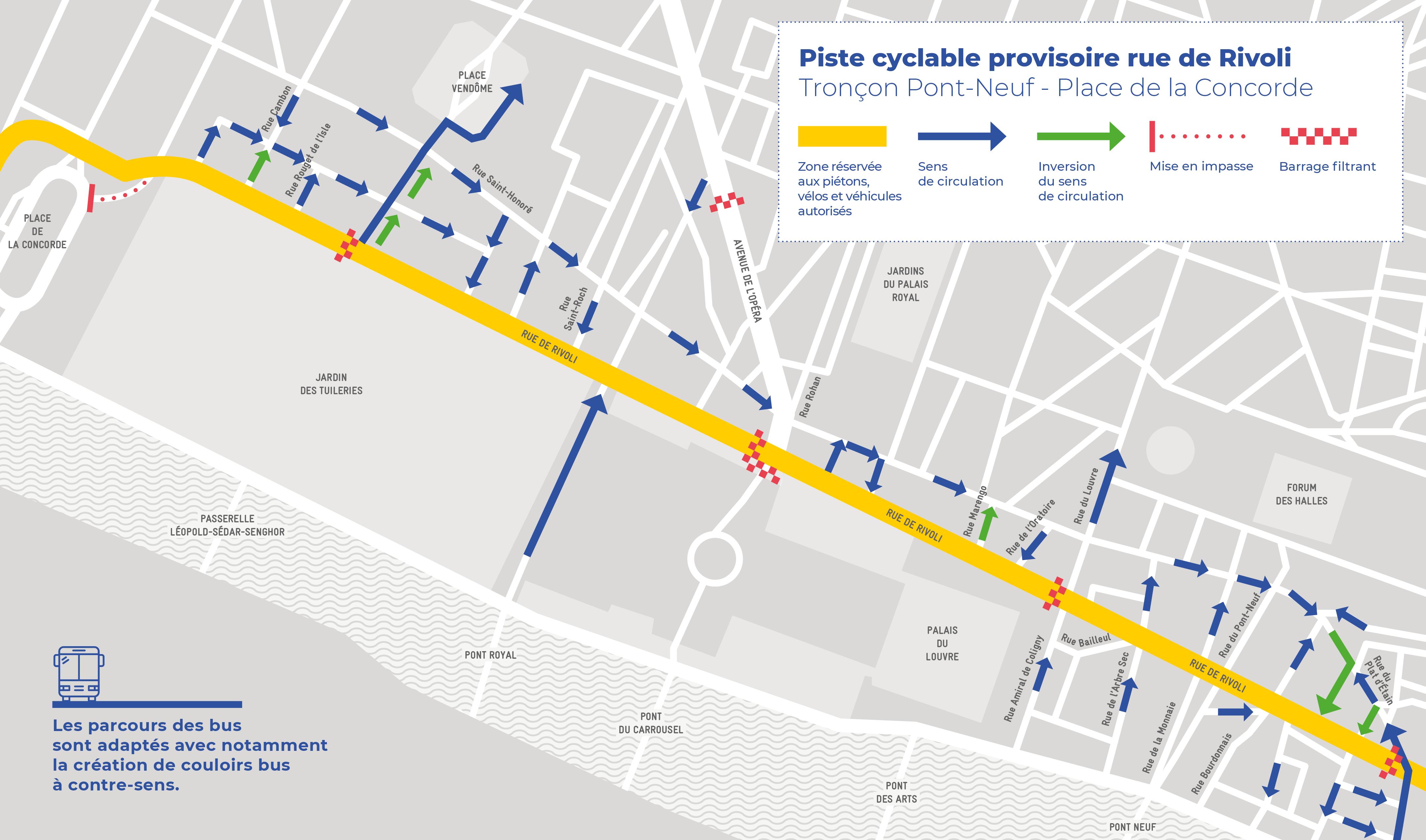 plan de la piste cyclable rue de Rivoli, tronçon Pont Neuf - Bastille