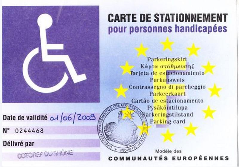 Carte européenne de stationnement pour personnes handicapées