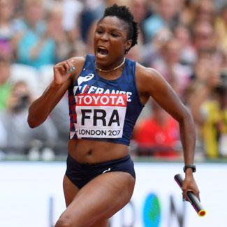 La sprinteuse Ayodelé Ikuesan lors des Championnats du Monde d'athlétisme à Londres en 2017.
