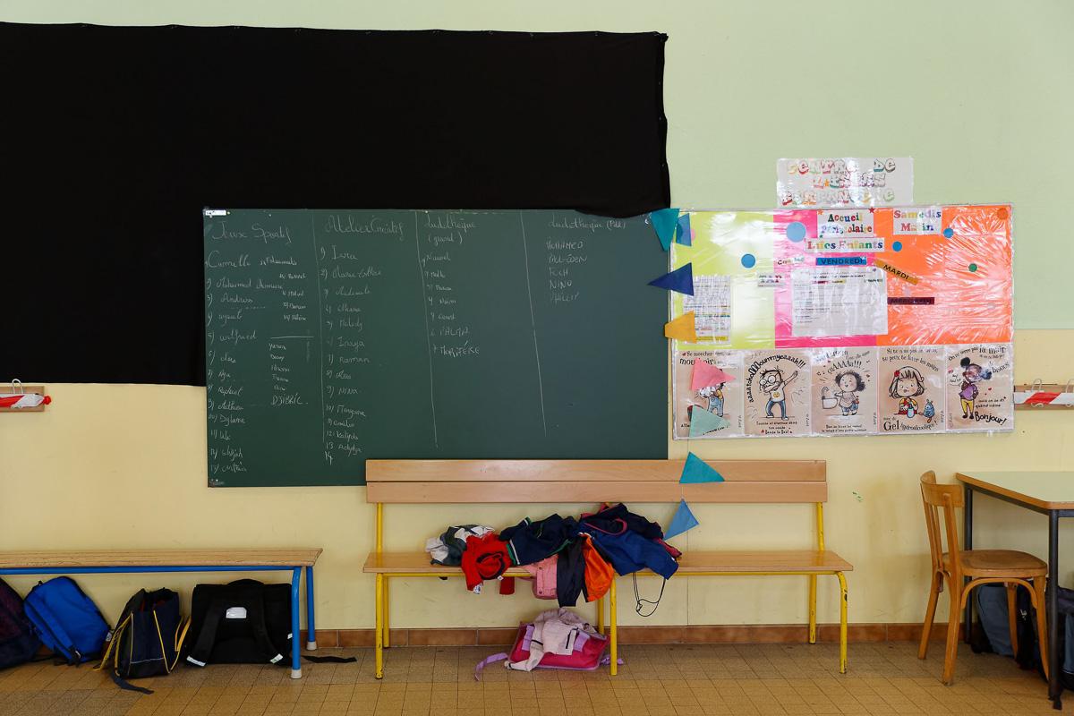 Tableau noir dans une école du 19e