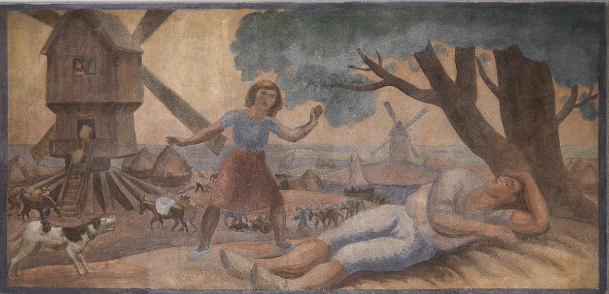 Meunier tu dors, illustré à la demande de la direction des Beaux-Arts de la Ville de Paris par Jules Emile Zingg en 1933-1934