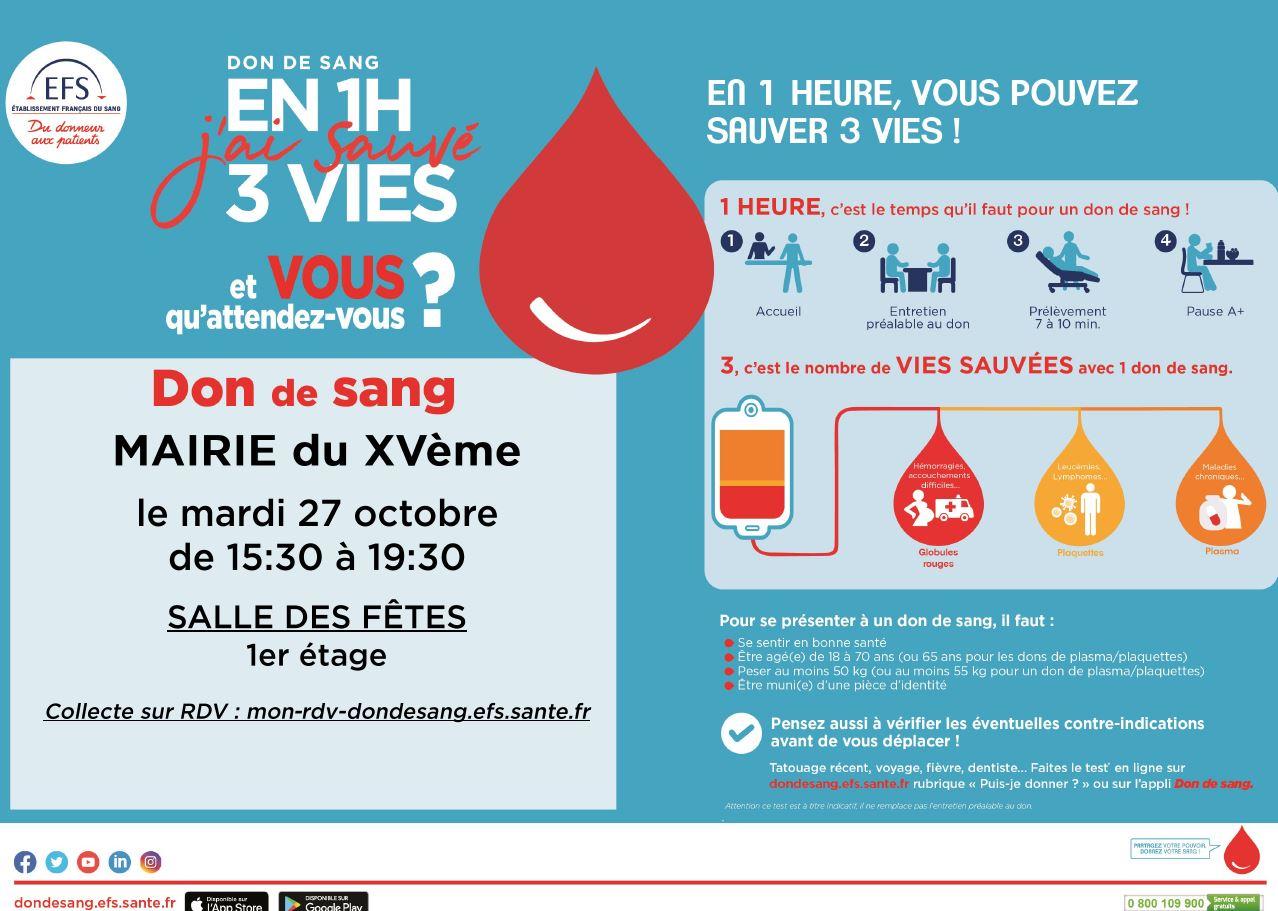 Donc du sang à la Mairie du 15e - mardi 27 octobre 2020