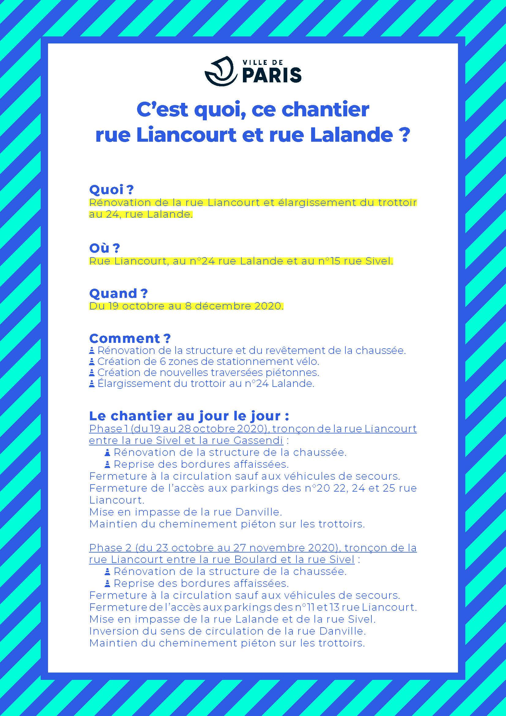 descriptif chantier rues Liancourt et Lalande