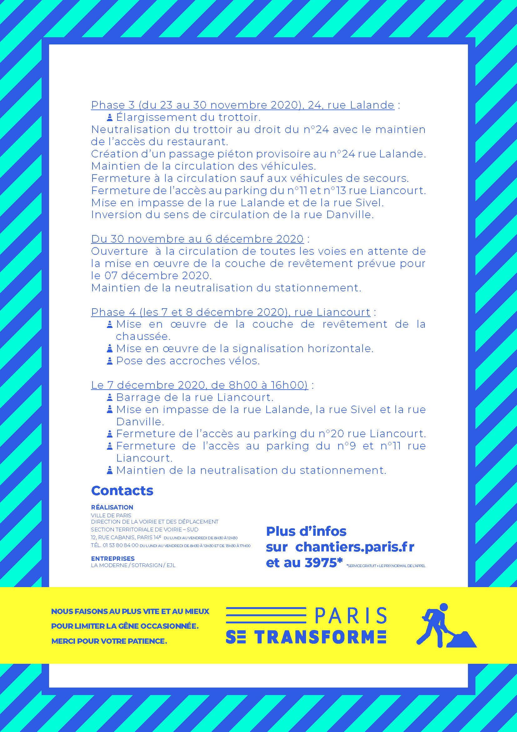 descriptif 2 chantier rues Liancourt et Lalande