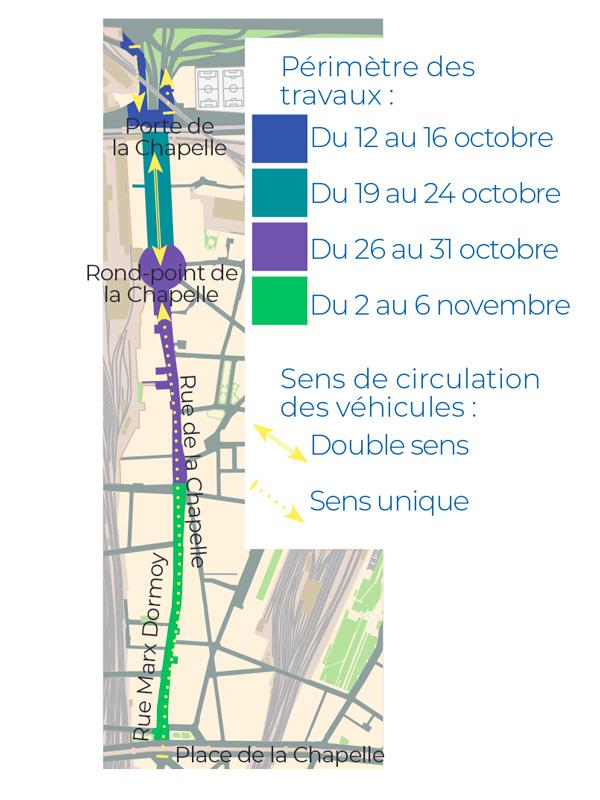 Plan de phasage et de circulation sur l'axe Max Dormoy / rue de la Chapelle /  avenue de la Porte de la Chapelle