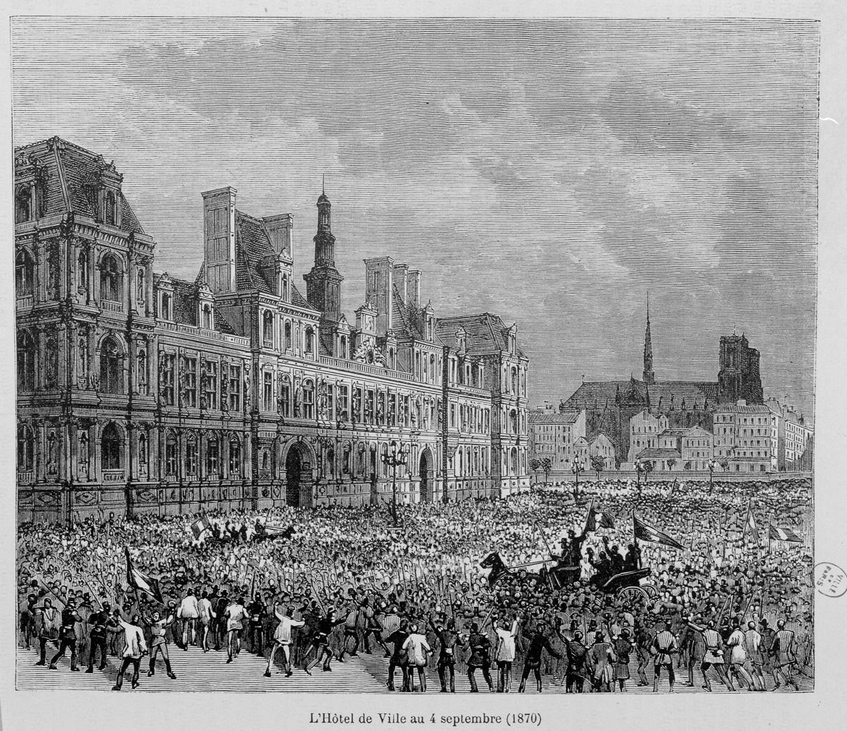 """""""L'Hôtel de Ville au 4 septembre 1870""""."""