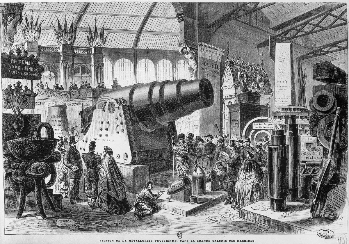 Exposition universelle de 1867. Canon Krupp exposé dans la grande galerie des machines. B.N.