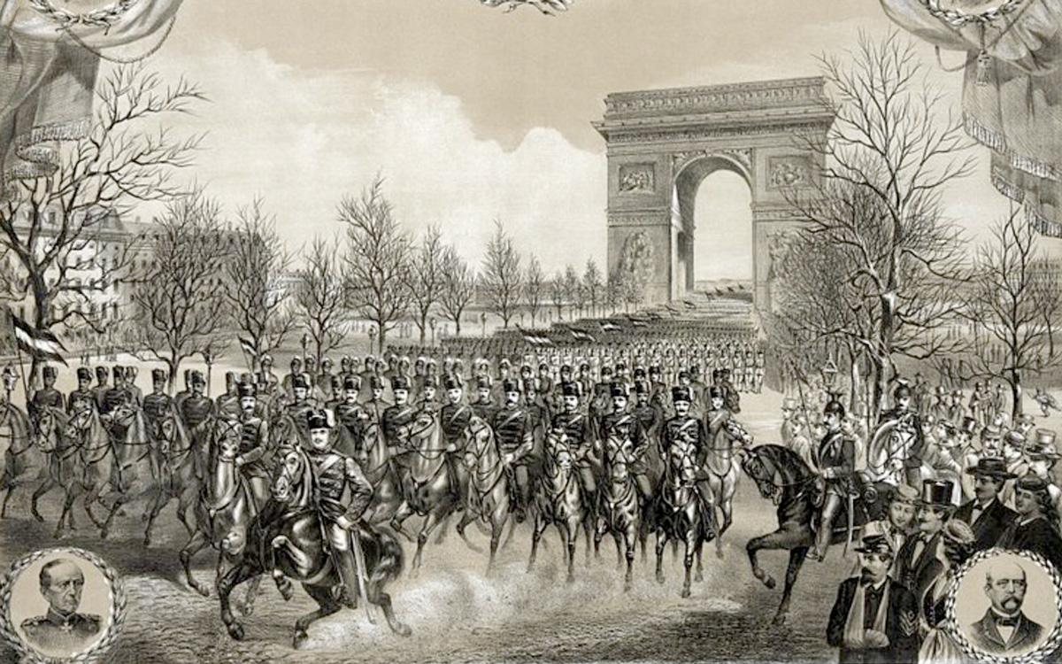 Défillé des troupes Alemandes sur les Champs Elysées en mars 1871