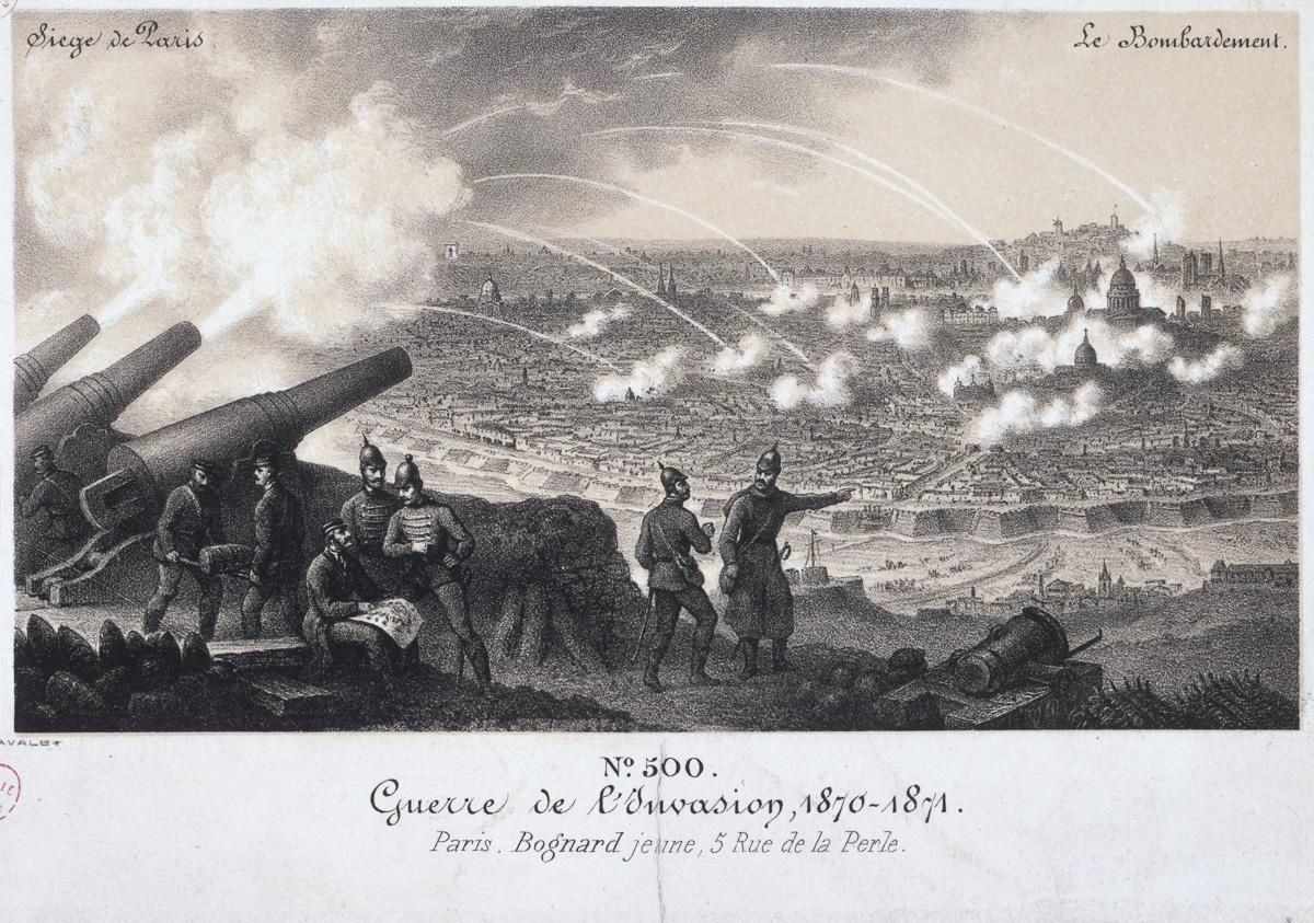 """""""Siège de Paris - le bombardement, guerre de l'invasion, 1870-1871"""". Estampe anonyme."""