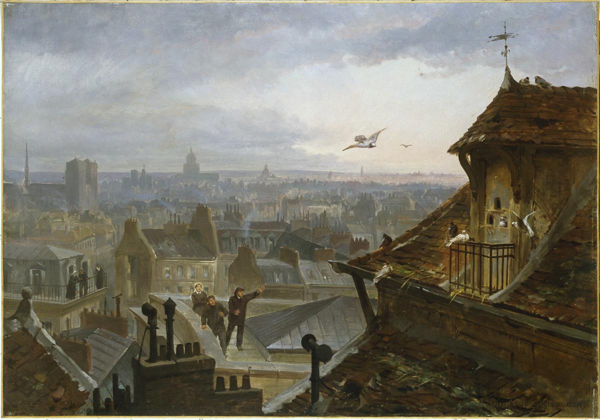 """Jules Didier (1831-1892) et Jacques Guiaud (1811-1876). """"Les pigeons messagers"""". Huile sur toile, novembre 1870."""