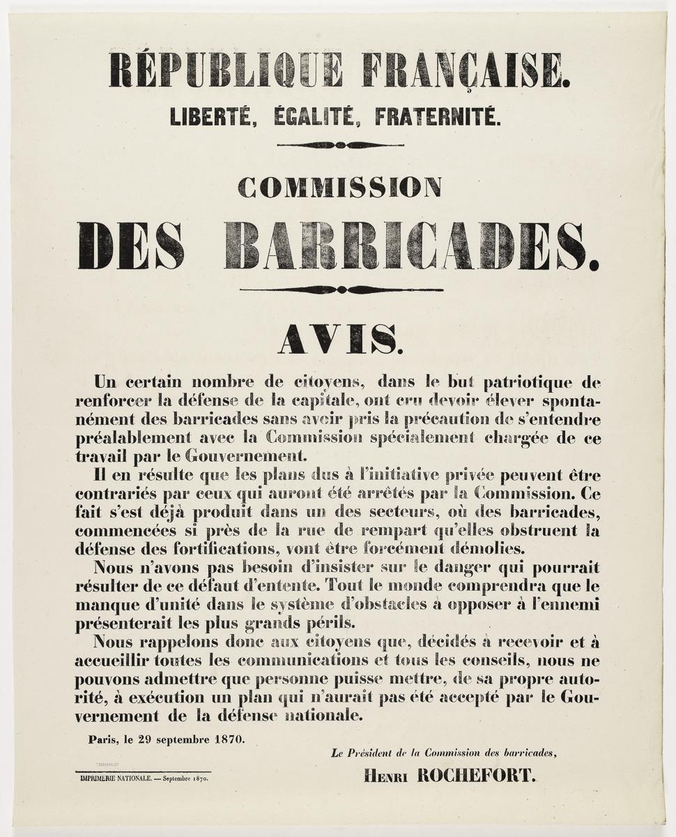 Affiche d'avis aux citoyens concernant l'interdiction de renforcer la défense de la capitale par l'élévation de barricades sans accord de la commission concernée. Typographie, 1870.
